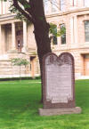 This marker is outside the county building in Troy, OH.  Being it depicts the Ten Commandments, neither the City of Troy nor Miami County has experienced any of the problems seen in the south.